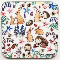 hedgehogs_rabbits_bees_wildflowers_coaster