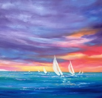 sunset_sailing_on_the_solent_oil