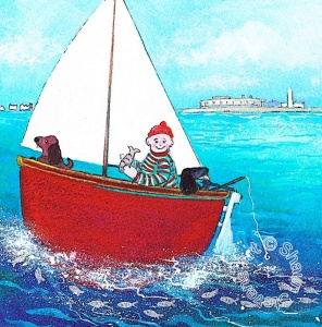 Rosie & Poppy sail around Hurst Castle I